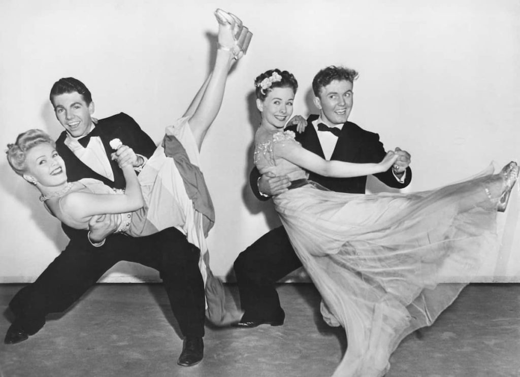 types of swing dance two couples black and white