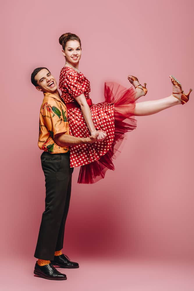 orange swing dancing shoes retro couple